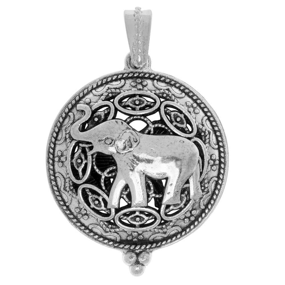 Aromatherapy Diffuser Locket Pendant, Round Hindu Pattern with Elephant 35x43mm, 1 Pc., Silver Tone