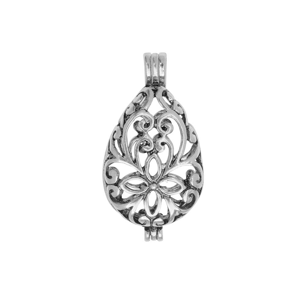 Aromatherapy Diffuser Locket Pendant, Teardrop 16x29.5mm, 1 Pendant, Antiqued Silver Plated