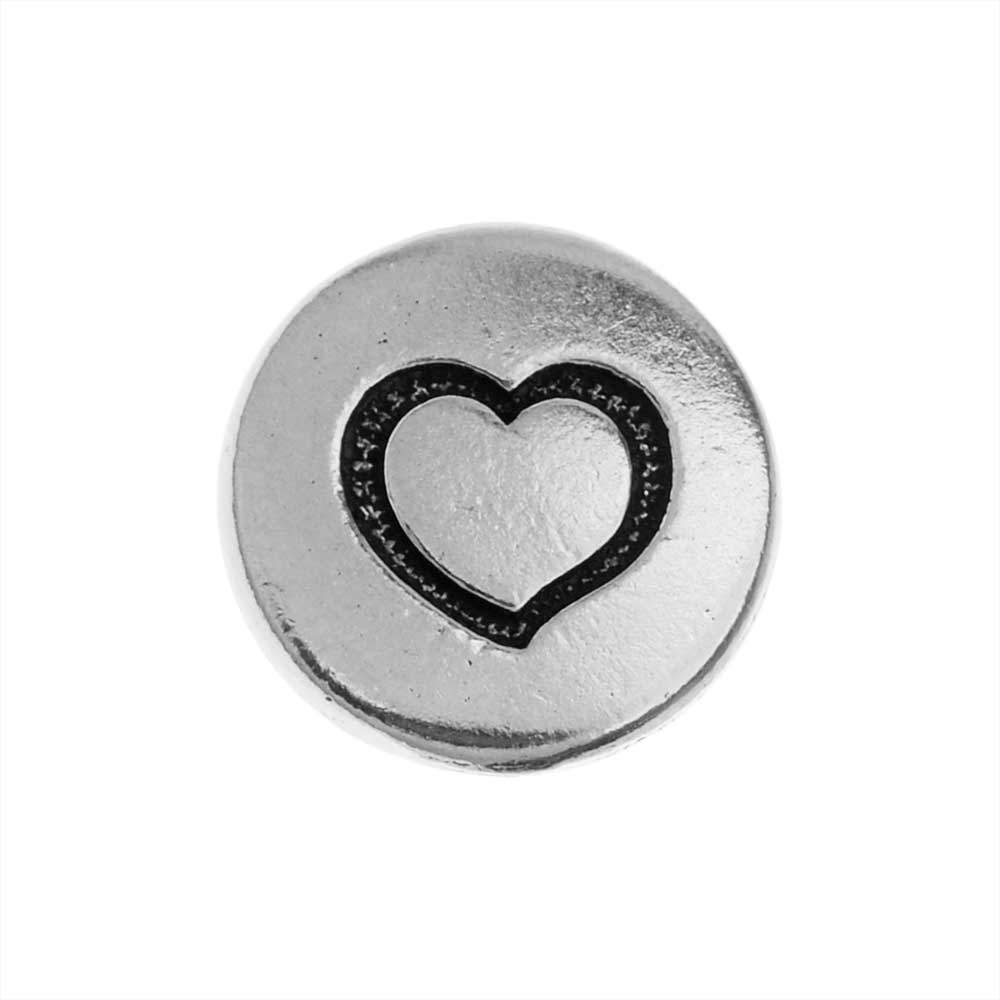 TierraCast Pewter Button, Round Heart Design 12mm Diameter, 1 Piece, Antiqued Silver Plated