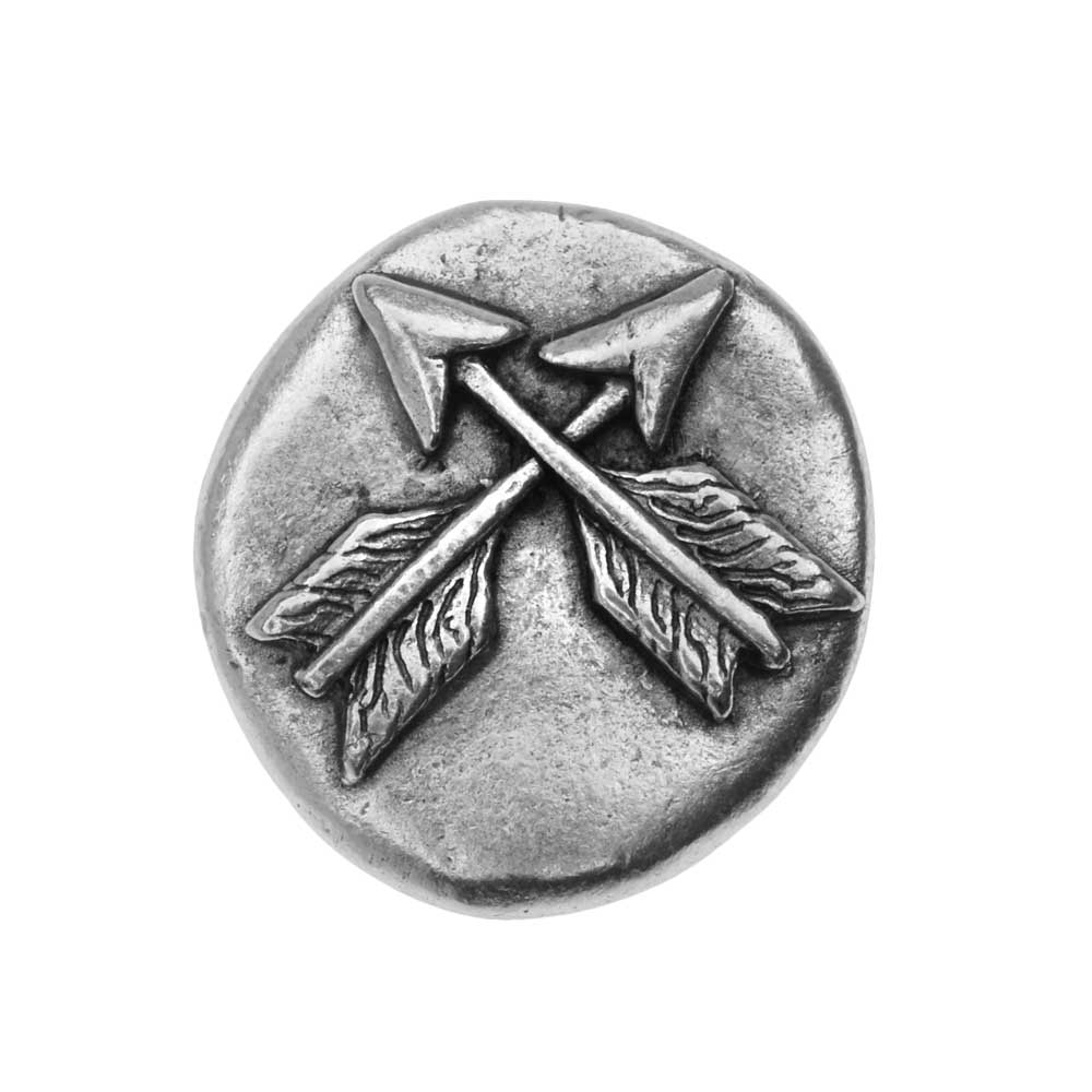 Nunn Design Button, Organic Round with Crossed Arrows 18mm, 1 Piece, Antiqued Silver Plated