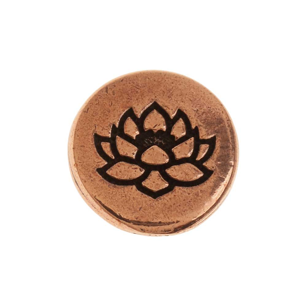 TierraCast Pewter Button, Round Lotus Flower Design 12mm Diameter, 1 Piece, Antiqued Copper Plated