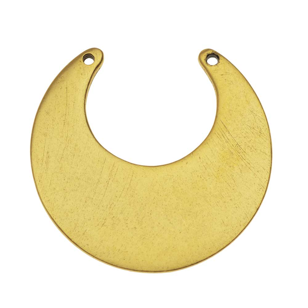 Nunn Design Flat Tag Pendant Link, Blank Circle Eclipse 30mm, 1 Piece, Antiqued Gold Plated