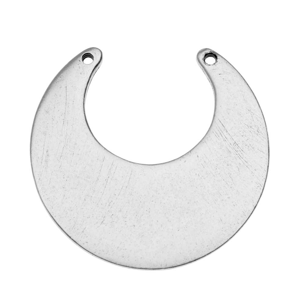 Nunn Design Flat Tag Pendant Link, Blank Circle Eclipse 30mm, 1 Piece, Antiqued Silver Plated