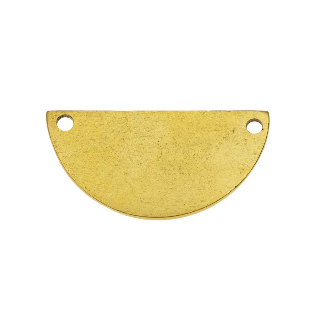 Nunn Design Flat Tag Pendant Link, Blank Half Circle 14.5x28.5mm, 1 Piece, Antiqued Gold Plated