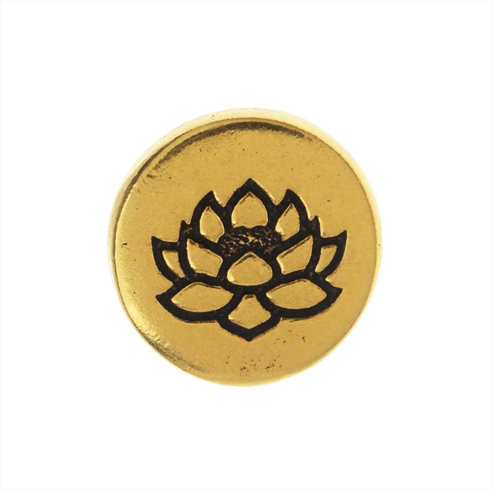 TierraCast Pewter Button, Round Lotus Flower Design 12mm Diameter, 1 Piece, Antiqued Gold Plated