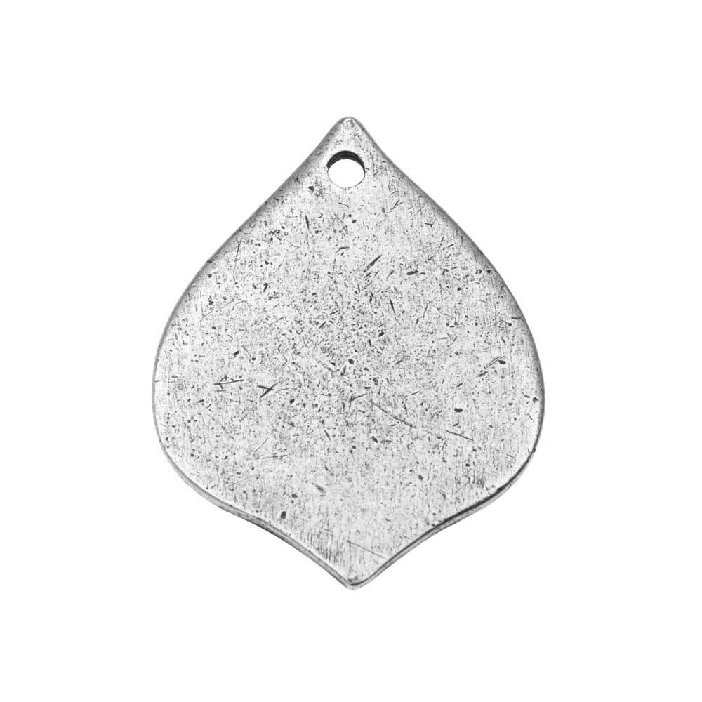 Nunn Design Flat Tag Pendant, Blank Marrakesh Drop 28mm, 1 Piece, Antiqued Silver Plated