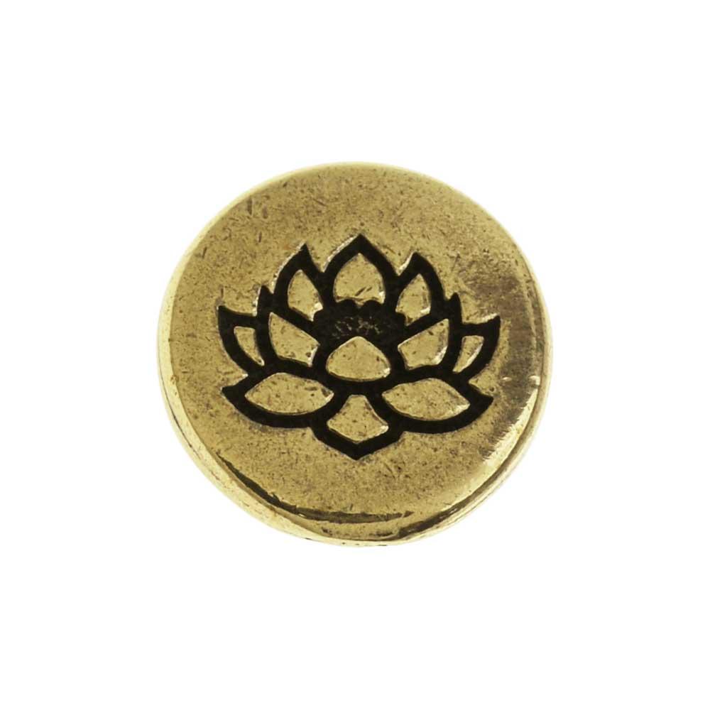 TierraCast Pewter Button, Round Lotus Flower Design 12mm Diameter, 1 Piece, Brass Oxide
