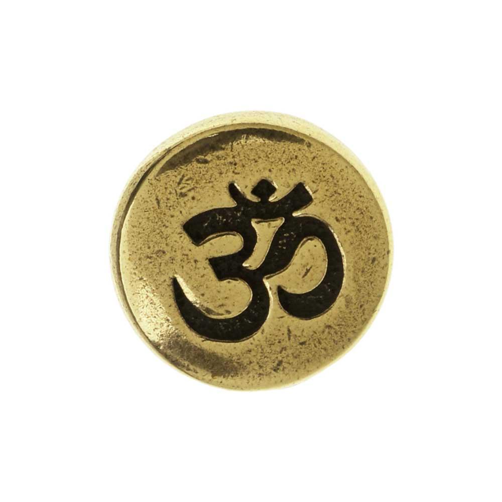 TierraCast Pewter Button, Round Om / Aum Symbol 12mm Diameter, 1 Piece, Brass Oxide