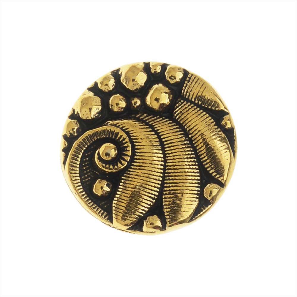 TierraCast Pewter Button, Round Czech Design, 12mm Diameter, 1 Piece, Antiqued Gold Plated