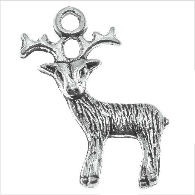 Lead-Free Pewter Charms, Reindeer 24.5mm, 4 Pieces, Antiqued Silver