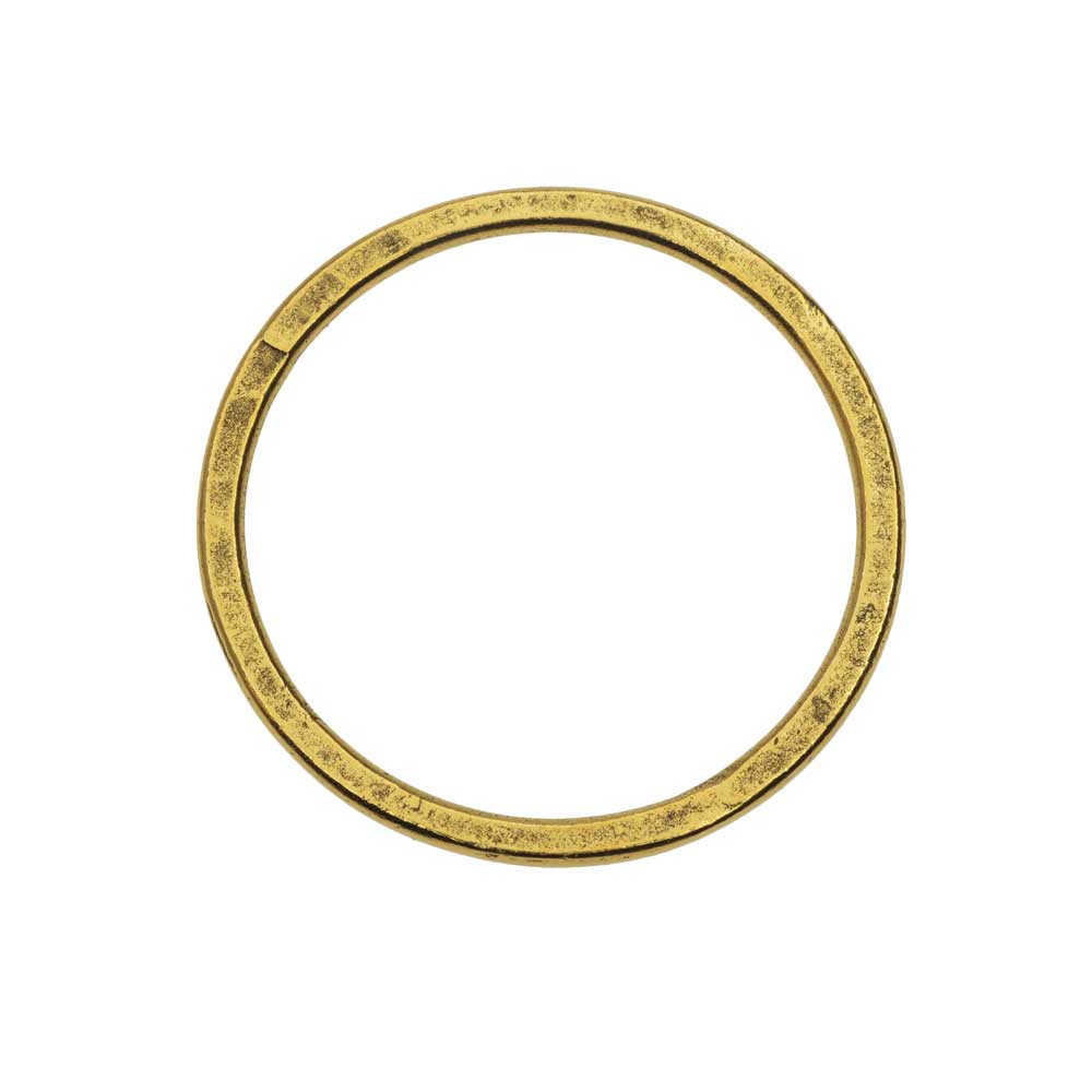 Open Frame Pendant, Flat Round Hoop 34.5mm, Antiqued Gold, 1 Piece, by Nunn Design