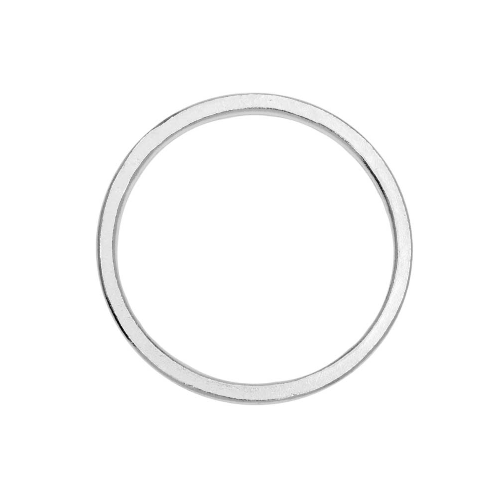 Open Frame Pendant, Flat Round Hoop 34.5mm, Bright Silver, 1 Piece, by Nunn Design