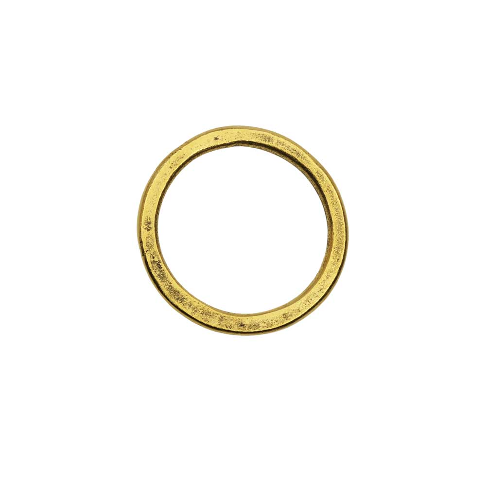 Open Frame Pendant, Flat Round Hoop 23.5mm, Antiqued Gold, 1 Piece, by Nunn Design