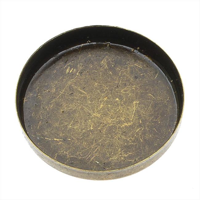Final Sale - Bezel Pendant Base, Round No Loop 25mm, 4 Pieces, Antiqued Brass