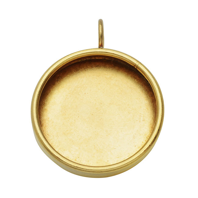 Nunn Design Bezel Pendant, 28.5mm Round, 1 Piece, Brass