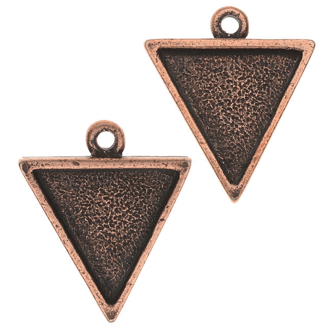 Nunn Design Bezel Charm, Triangle 15.5x18.5mm, 2 Pieces, Antiqued Copper
