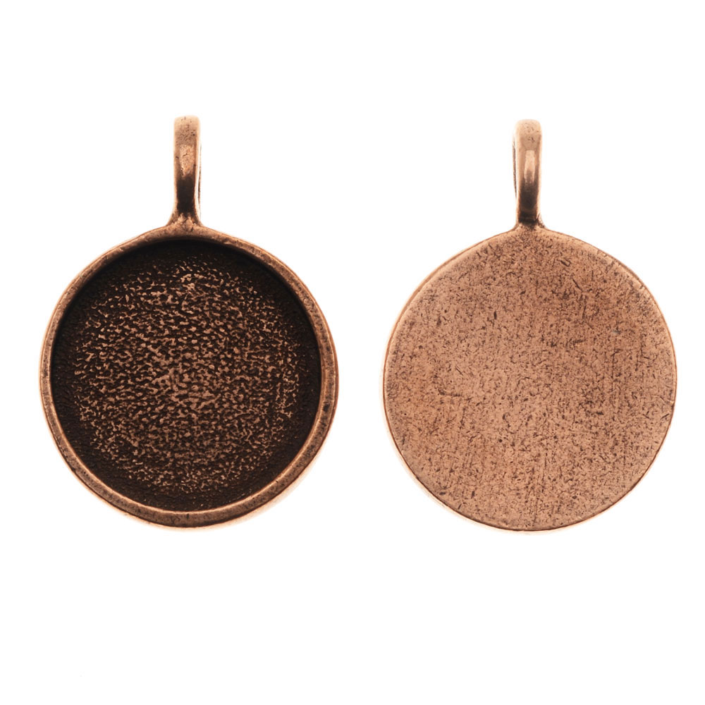 Final Sale - Nunn Design Bezel Pendant, 16.5mm Round, 1 Piece, Antiqued Copper