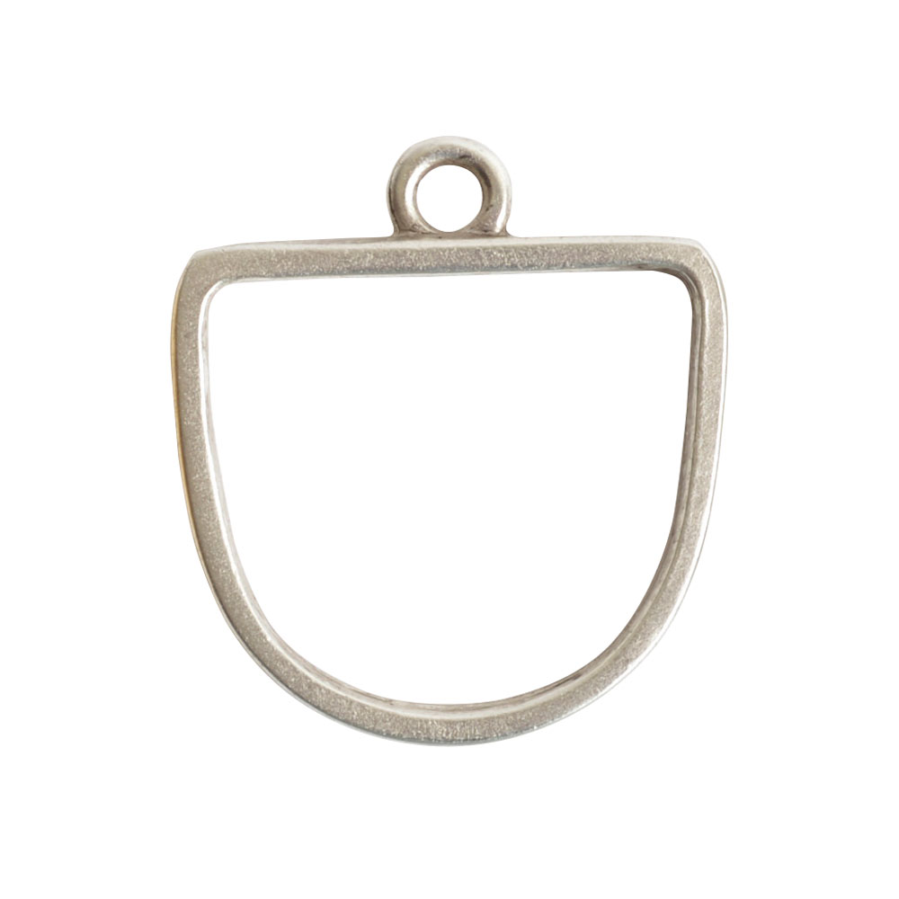 Nunn Design Open Pendant, Grande Half Oval 28.5x31.5mm, 1 Piece, Antiqued Silver