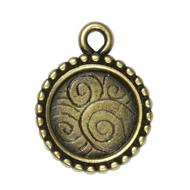 Antiqued Brass Bezel Pendant, Circle with Beaded Edges 24mm, 1 Piece