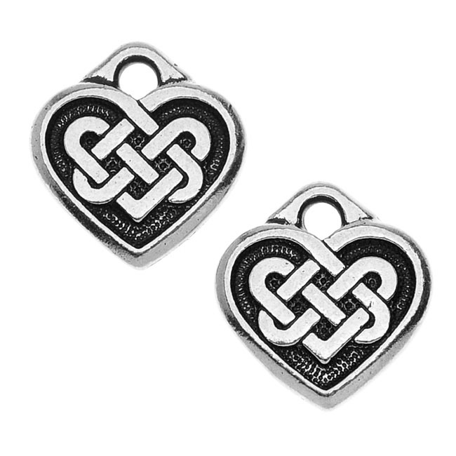 TierraCast Celtic Collection, 'Tracys' Celtic Heart Charm 13x14mm, 2 Pieces, Antiqued Silver