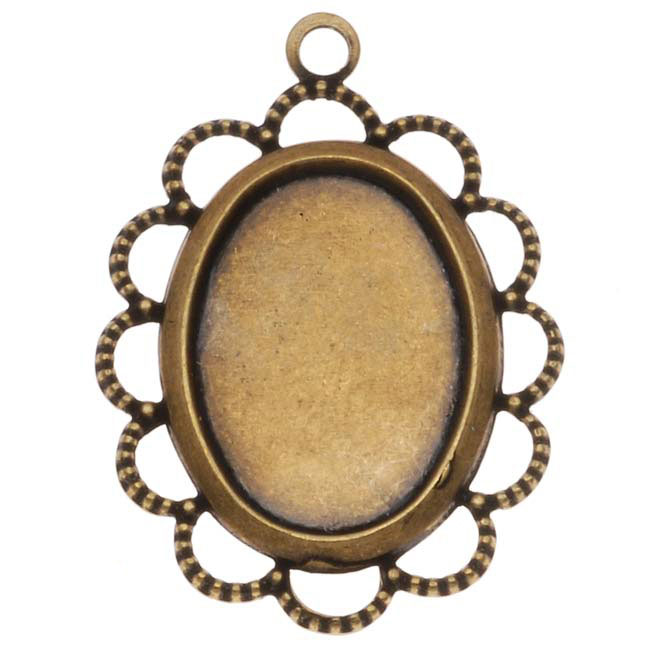 Antiqued Brass Oval Bezel Pendant With Beaded Floral Edge 10x14mm (4)