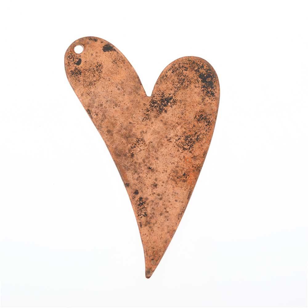 Vintaj Artisan Copper, Artisan Heart Pendant Blank 24 Gauge Thick 40x25mm, 1 Piece