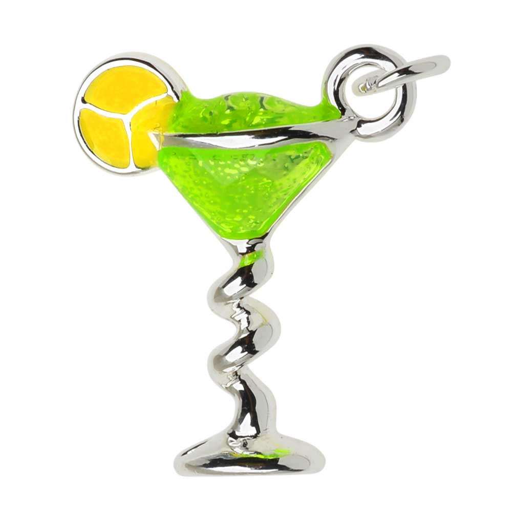 Silver Plated and Enameled Charm, Margarita W/ Lime 18x14.7x5.2mm, 1 Piece, Green