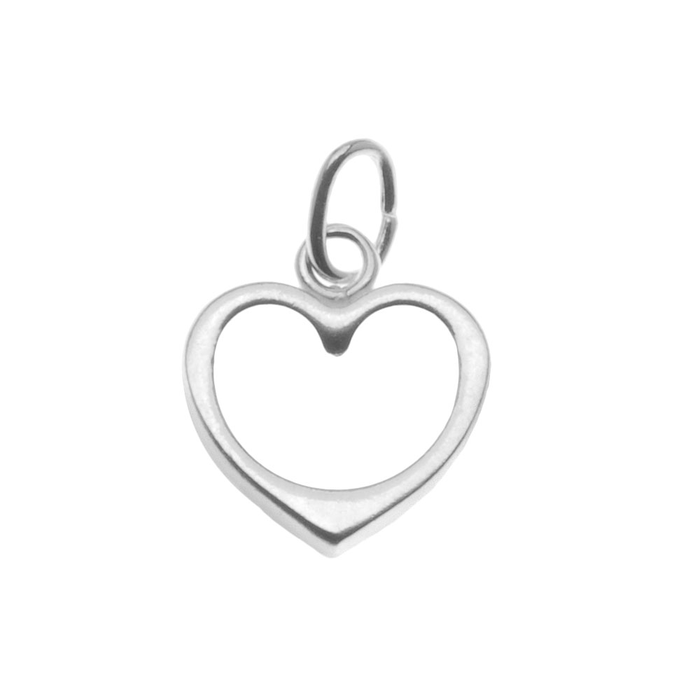 Sterling Silver Charm Sleek Open Heart 10mm