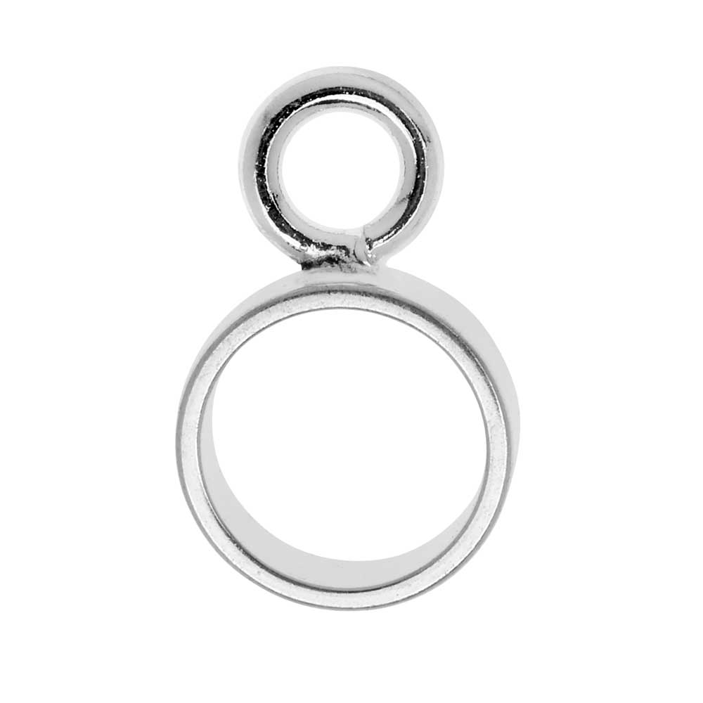 Nunn Design Open Frame Charm, Circle 9.3x15mm, 1 Piece, Bright Silver
