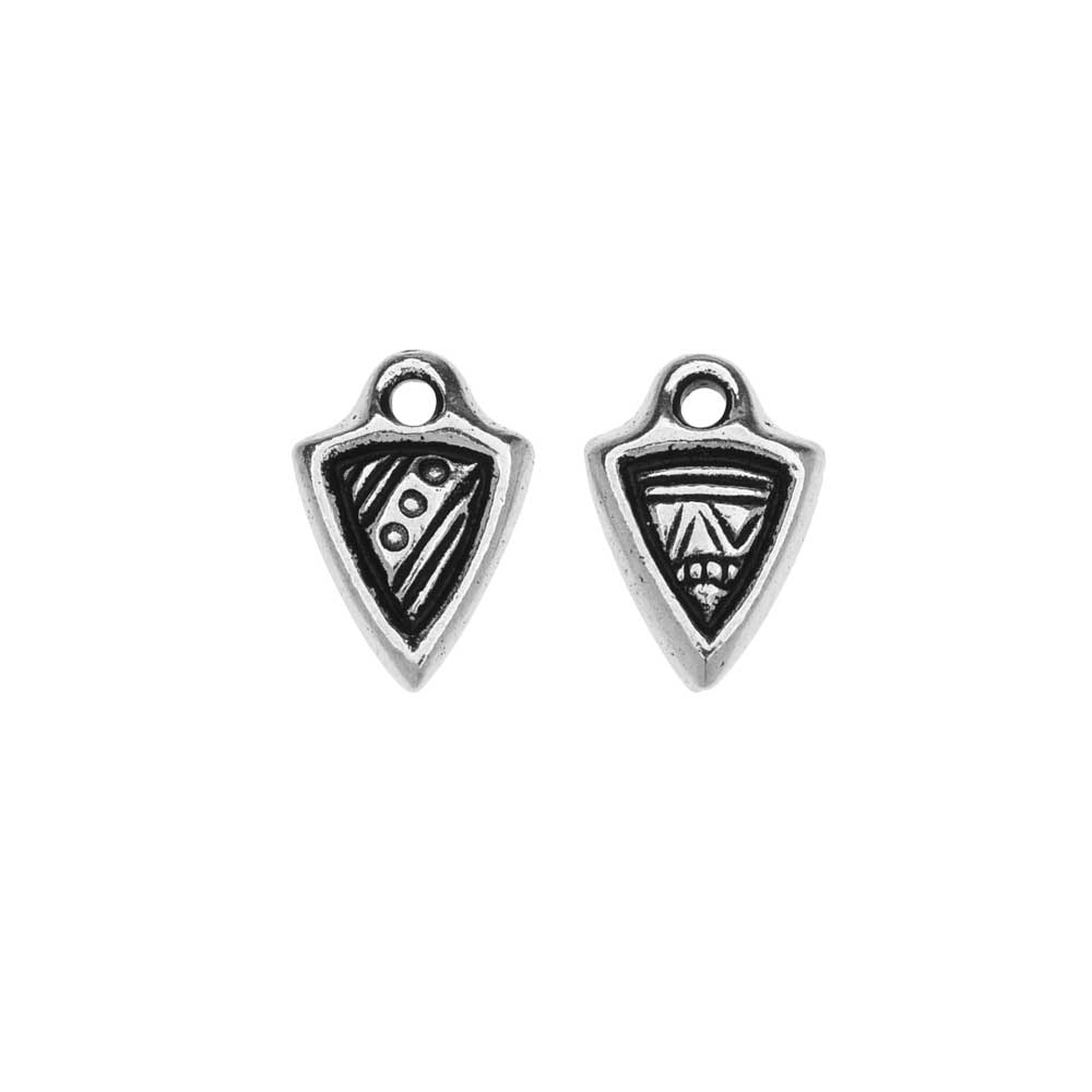 TierraCast Pewter Charms, Ethnic Dart Design 11x7.5mm, 2 Pieces, Antiqued Silver Plated