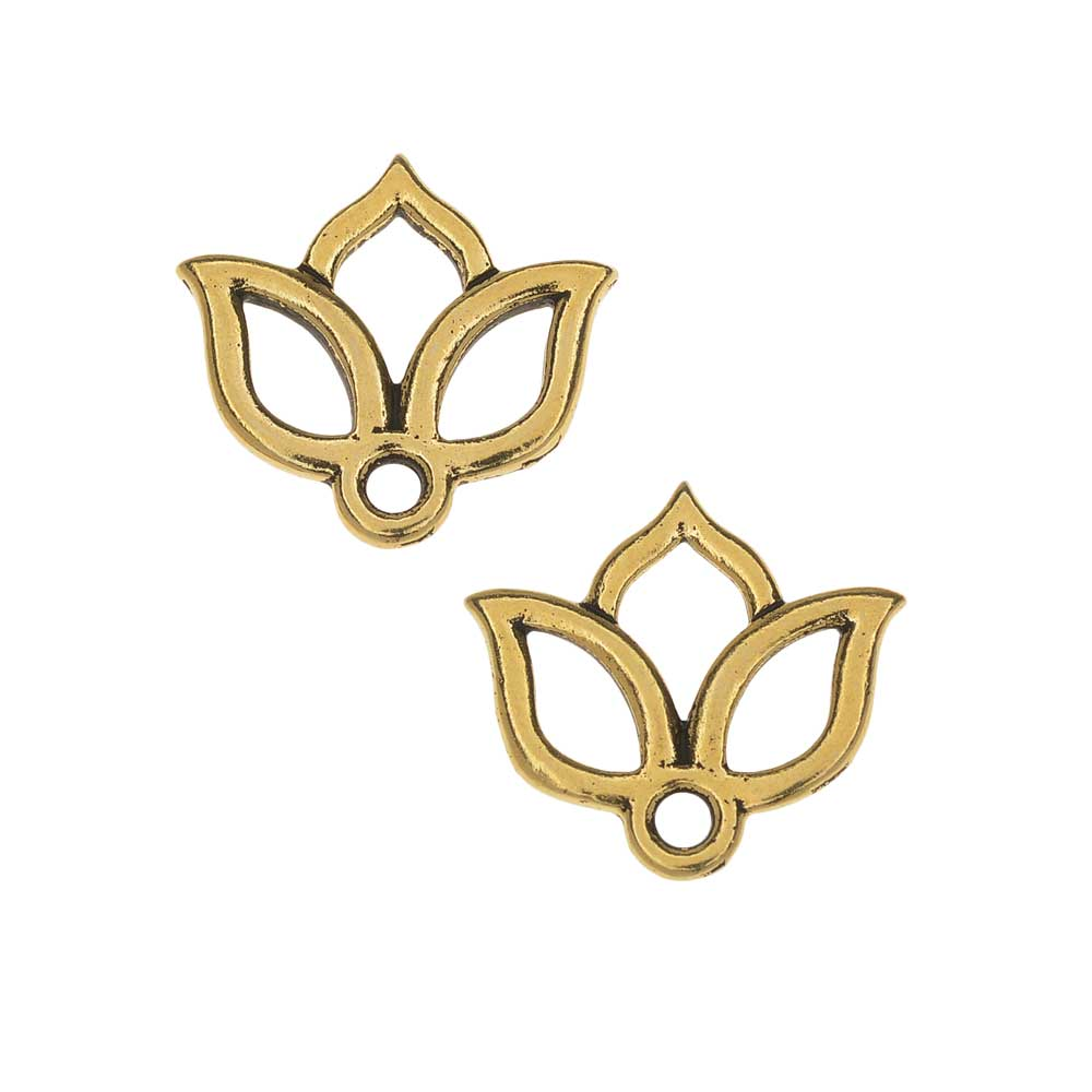 TierraCast Pewter Charms, Open Lotus Design 13x14mm, 2 Pieces, Antiqued Gold Plated