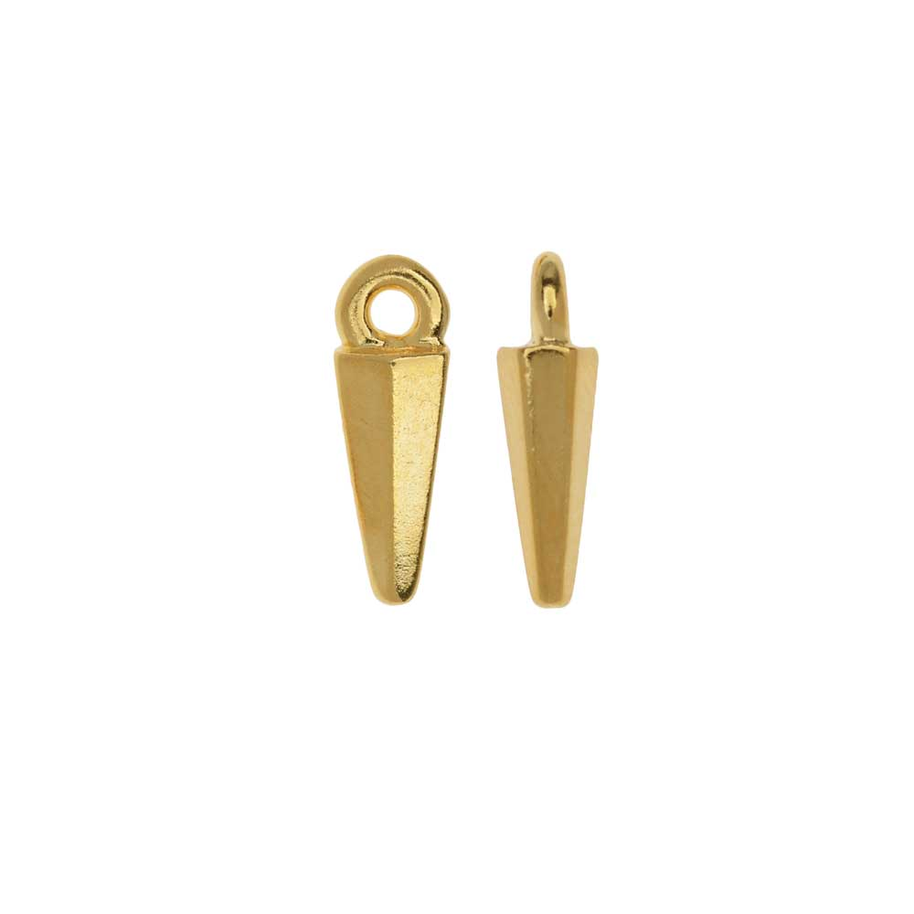 TierraCast Pewter Charms, Dagger Drop Design 13.5x4.5mm, 2 Pieces, 22K Gold Plated