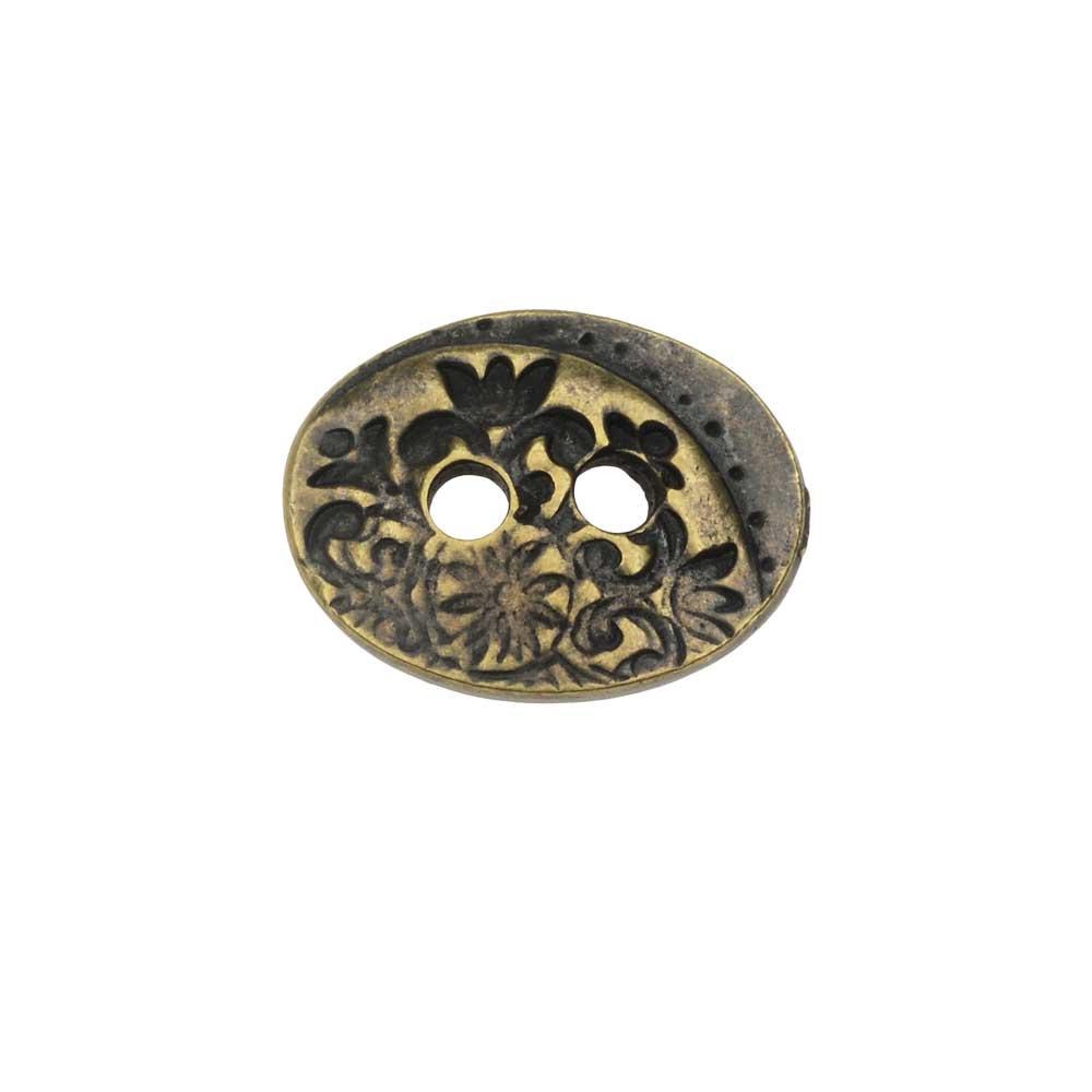 TierraCast Button, Flora 2-Hole Oval 14x18mm, 1 Piece, Brass Oxide Finish