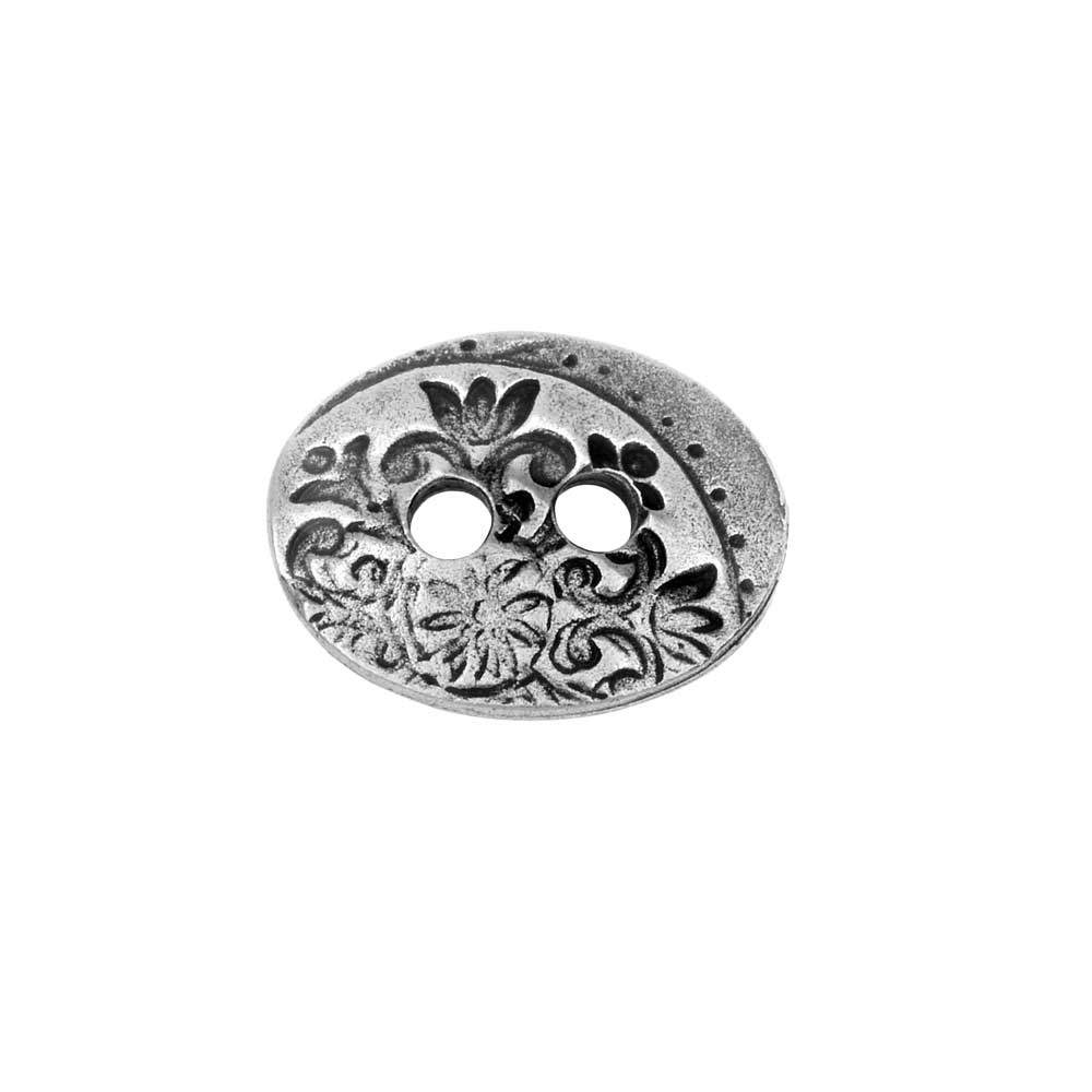 TierraCast Button, Flora 2-Hole Oval 14x18mm, 1 Piece, Antiqued Pewter