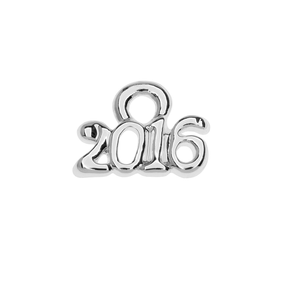 Final Sale - Silver Plated Charm, Mini Year 2016 6.2x8.5mm, 1 Piece, Silver