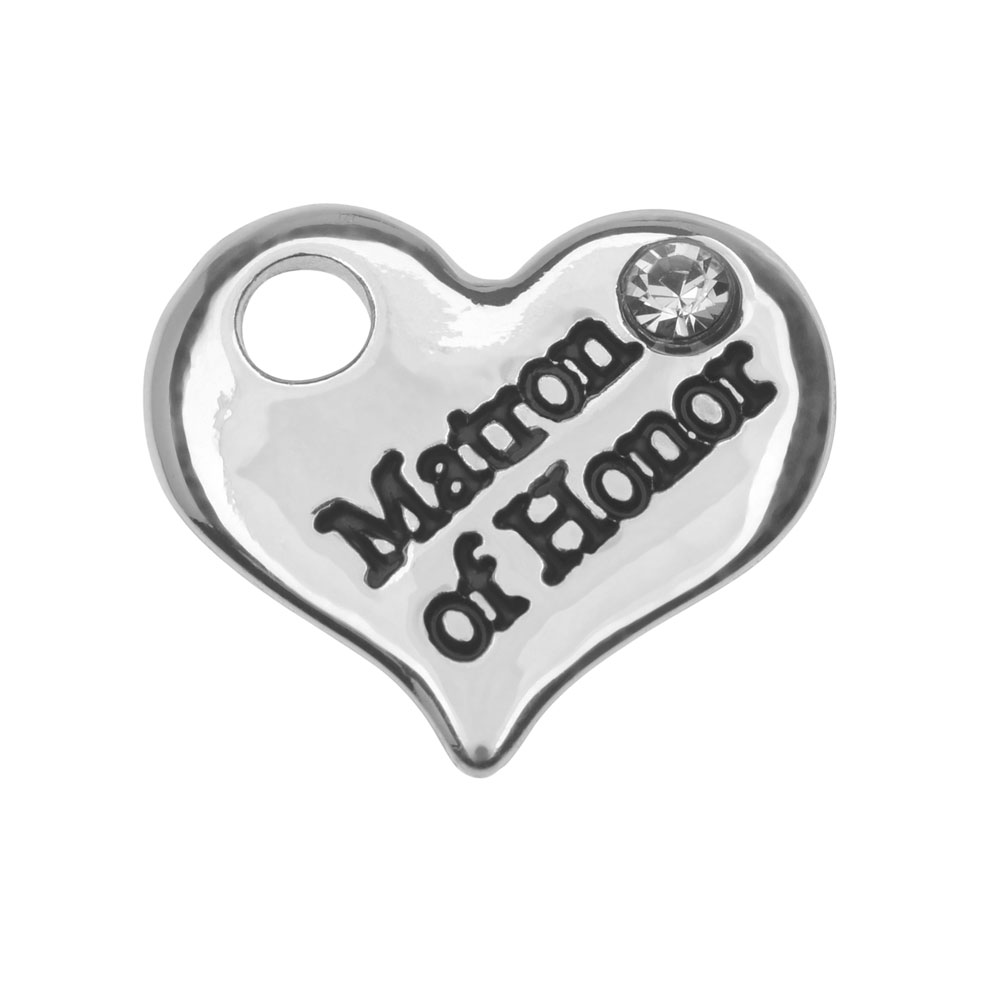Final Sale - Silver Plated Charm, Heart Matron of Honor 12.5x14.5mm, 1 Piece, Silver