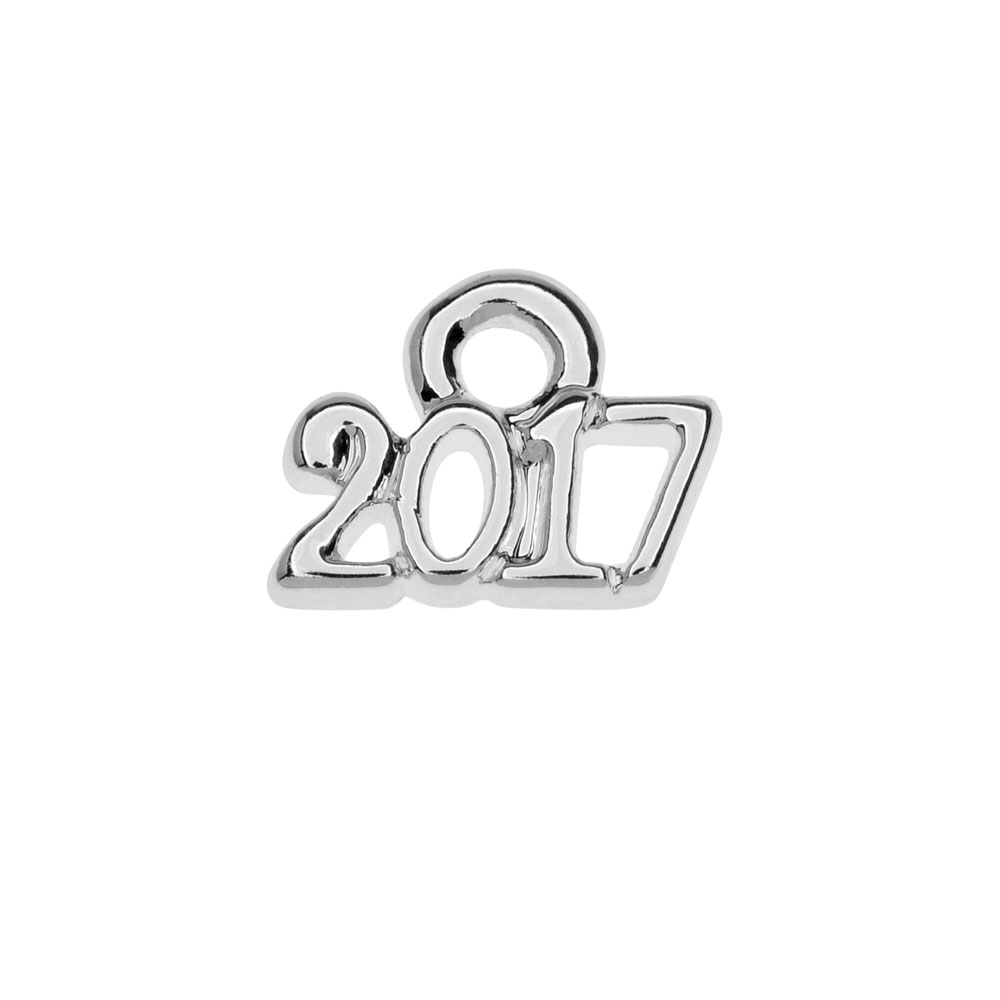 Final Sale - Silver Plated Charm, Mini Year 2017 6.2x8.5mm, 1 Piece, Silver