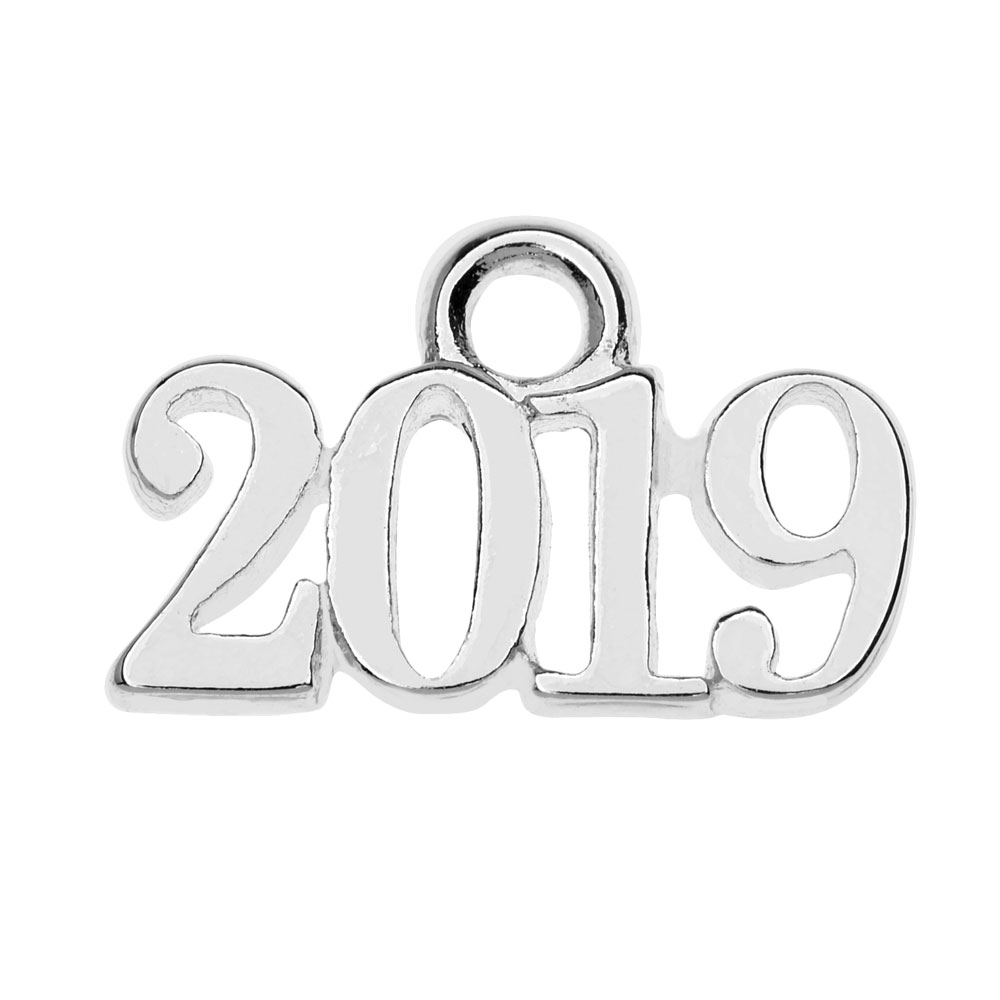 Final Sale - Silver Plated Charm, Year 2019 9.3x14.5mm, 1 Piece, Silver