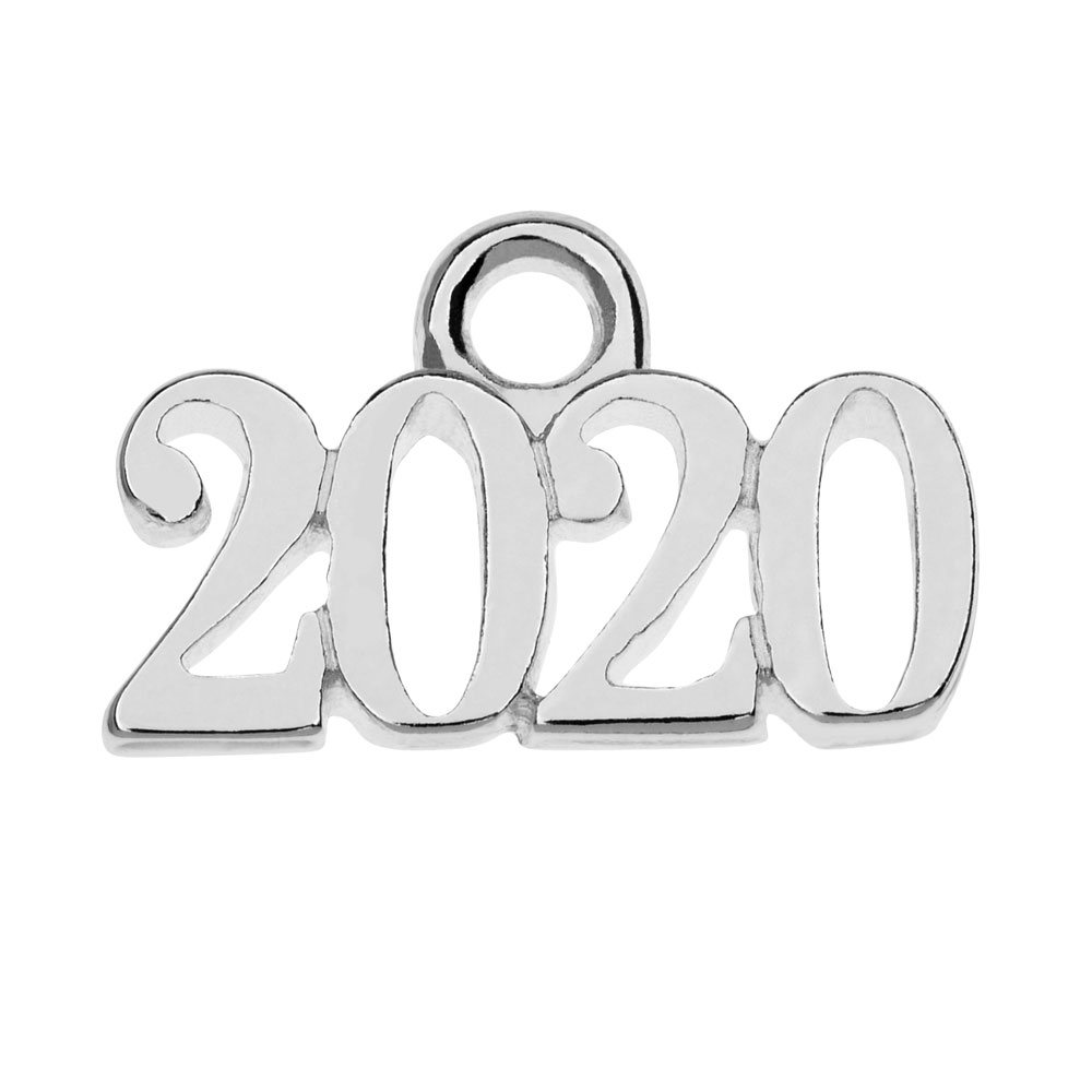Silver Plated Charm, Year 2020 9.3x14.5mm, 1 Piece, Silver