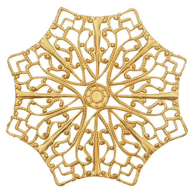 Vintaj Vogue Embellishments, Delicate Web Filigree 41mm, 1 Piece, Raw Brass