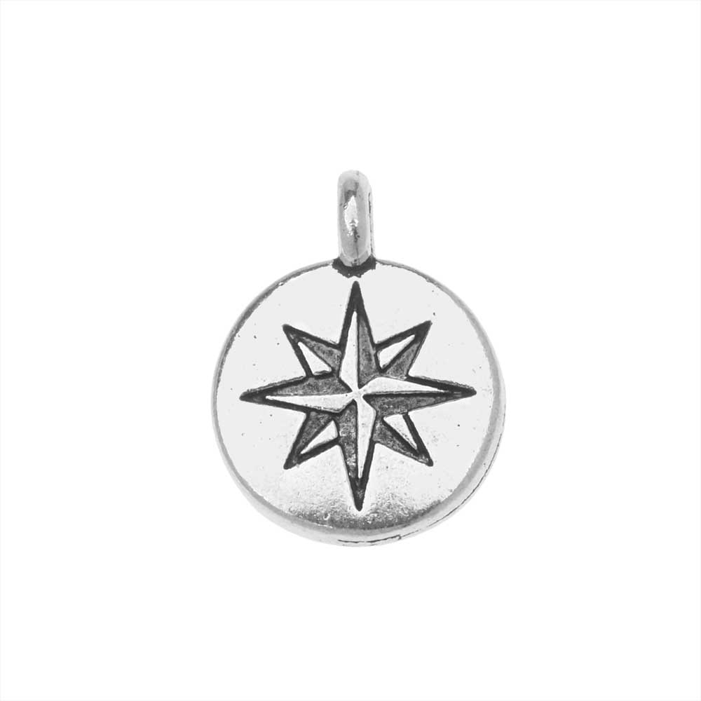 TierraCast Pewter Charm, North Star Design with Loop 14.5x11mm, 1 Piece, Antiqued Silver Plated
