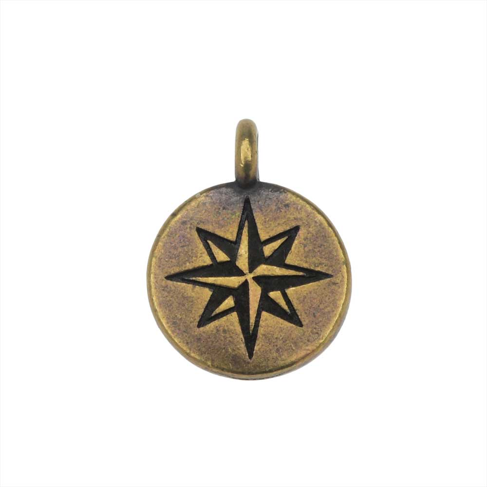 TierraCast Pewter Charm, North Star Design with Loop 14.5x11mm, 1 Piece, Brass Oxide