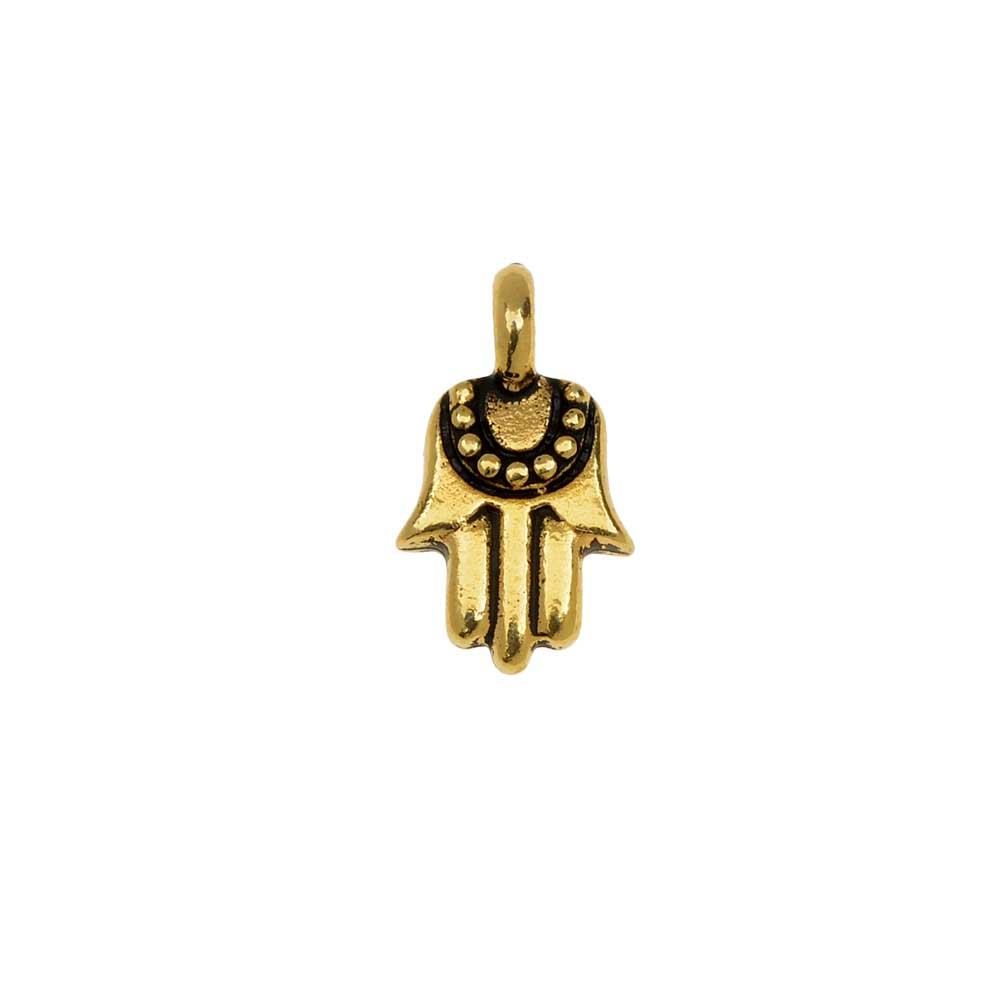 TierraCast Pewter Charm, Hamsa Hand with Loop 12.5x7mm, 1 Piece, 22K Gold Plated