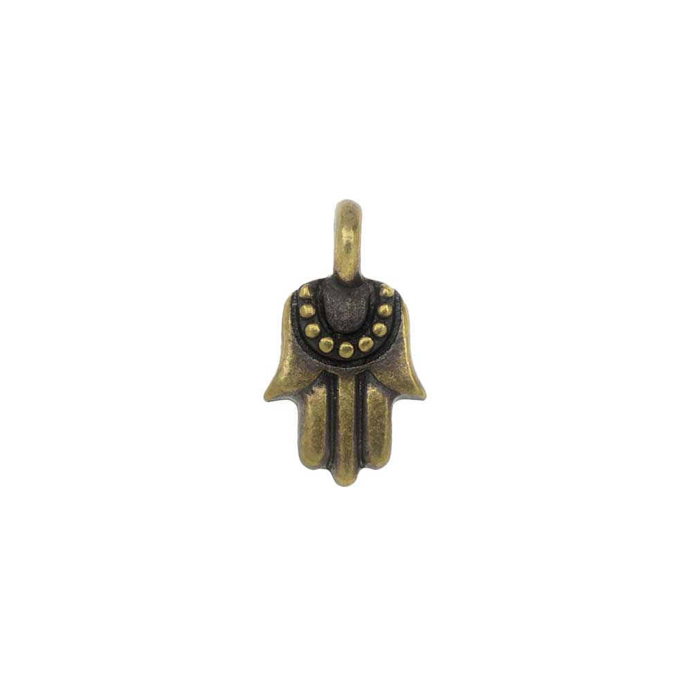 TierraCast Pewter Charm, Hamsa Hand with Loop 12.5x7mm, 1 Piece, Brass Oxide