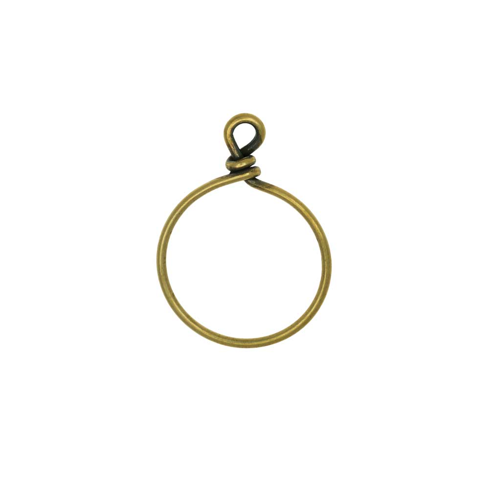 TierraCast Beadable Wrapped Wire Hoop, for Pendants or Earrings 20mm Wide, 1 Piece, Brass Oxide