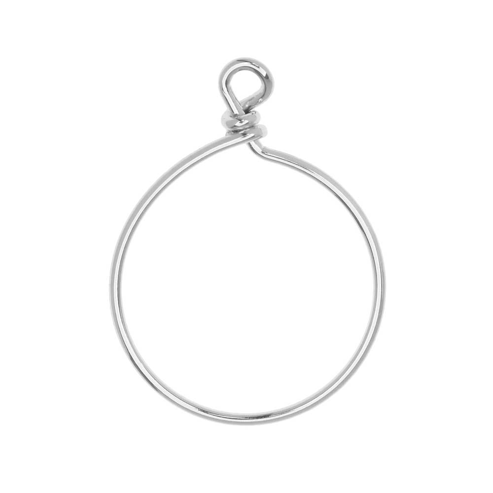 TierraCast Beadable Wrapped Wire Hoop, for Pendants or Earrings 32mm Wide,  Antiqued Silver Plated