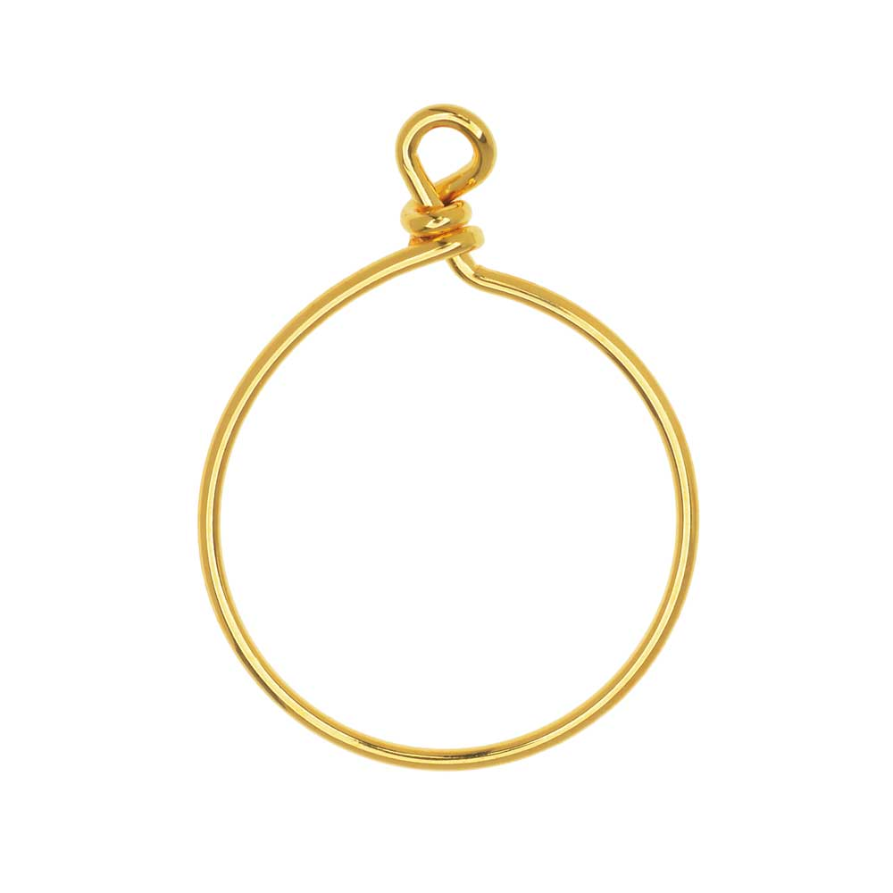 TierraCast Beadable Wrapped Wire Hoop, for Pendants or Earrings 32mm Wide, 1 Piece, 22K Gold Plated