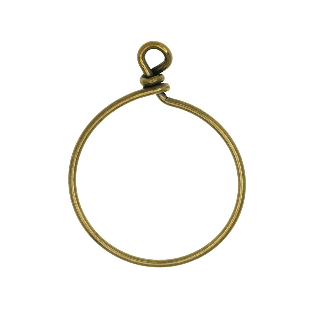 TierraCast Beadable Wrapped Wire Hoop, for Pendants or Earrings 32mm Wide, 1 Piece, Brass Oxide