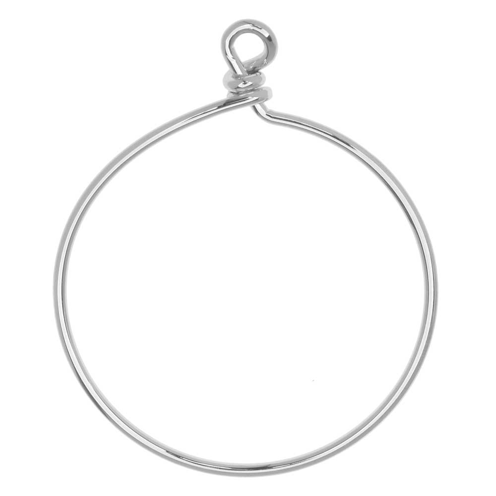 TierraCast Beadable Wrapped Wire Hoop, for Pendants or Earrings 42mm Wide,  Antiqued Silver Plated