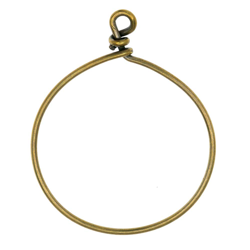 TierraCast Beadable Wrapped Wire Hoop, for Pendants or Earrings 42mm Wide, 1 Piece, Brass Oxide